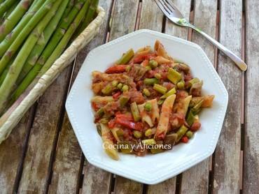 "Macarrones  con verduras ""a la Corinne"", receta paso a paso"