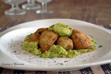 Tapa de alcachofas y dip habitas tiernas, receta paso a paso.