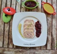 Fiambre de pollo con confitura picante de cerezas y salsa de mostaza, receta paso a paso #díadeCEREZADELJERTE.