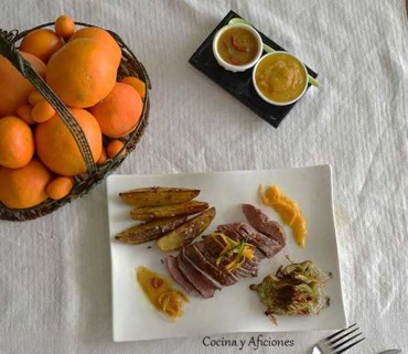Magret de pato a las naranjas, receta paso a paso.