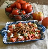 Ensalada de tomate con aliño de agave,  paso a paso.