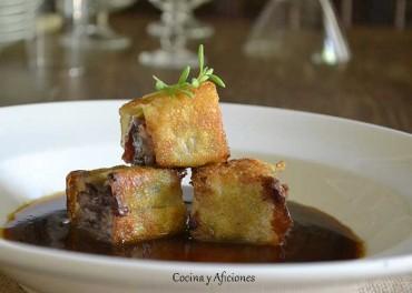 Raviolis crujientes de rabo con salsa de legumbres. Receta maridada por Jesus Flores, paso a paso