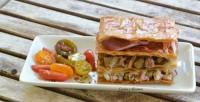 Milhojas de setas, carne y jamón Ibérico, receta paso a paso.