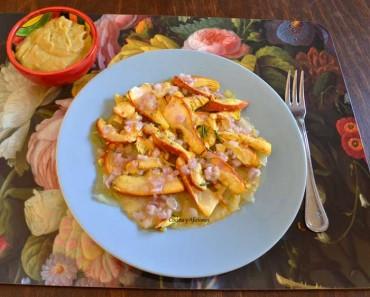 Ensalada de oronjas (amanitas cesáreas) y patatas, receta paso a paso.