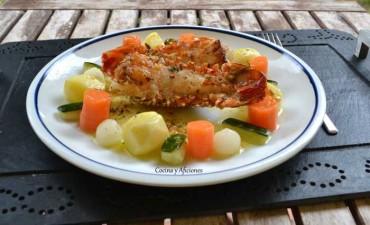 Langosta con verduras a lamantequilla, receta paso a paso.