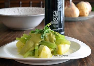Borraja, patata y crema de judías verdes, receta paso a paso.