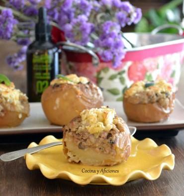 Manzanas rellenas de carne con Arbequina&Co nº2, receta paso a paso.