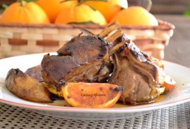 Costillas (carre) de cordero en corte francés a la naranja, receta paso a paso.