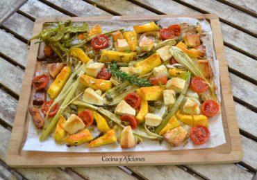 Calabaza, más verduras, queso y aceite de guindillas, receta paso a paso