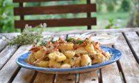Ensalada de patatas con salsa ranchera, receta paso a paso