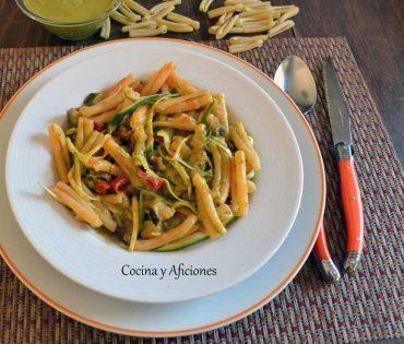 Pasta con verduras y pistou de rúcula, receta paso a paso.