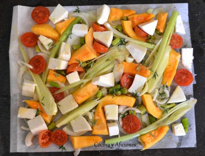 preparando-calabaza-queso-y-verduras