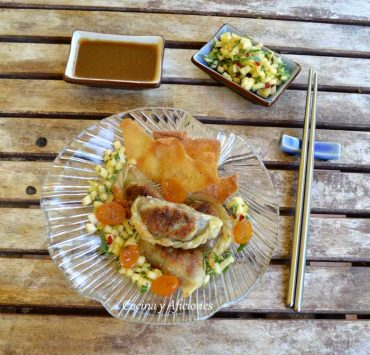 Dimsum de carne, kumquats y salsa Yakiniku, receta paso a paso.