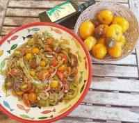 Ensalada de judías verdes y tomatitos, receta paso a paso.