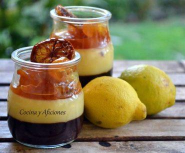 Vasito de Lemon curd, chocolate, kumquats y limones caramelizados, receta paso a paso.