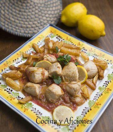 Dados de pavo al limón, receta paso a paso.