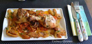 Muslos de pollo con marinada de finas hierbas, receta paso a paso.