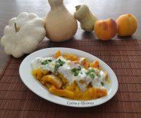 Calabaza y melocotón asados con crema de yogur, receta paso a paso.