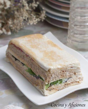 Pastel frio de pavo con pan de molde, receta paso a paso