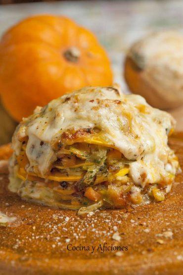 Lasaña de calabaza y queso, receta paso a paso.