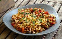 Fetuccini con boloñesa vegana, receta con vídeo.