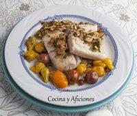 Corvina salteada con avellanas, receta sana y deliciosa.