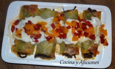 Canelón de patata relleno de rabo de vaca, un plato de fiesta.