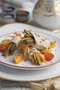 Rollitos de pollo rellenos de verduras, receta paso a paso