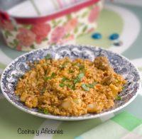 Arroz meloso mar (calamares) y montaña (solomillo de cerdo ibérico), receta