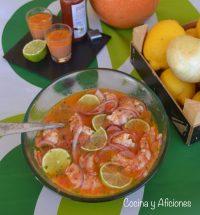 Cebiche de camarón ecuatoriano, receta. Un plato impresionante.