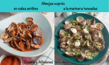 Almejas exprés, a la marinera con espárragos y salsa Antibes, recetas fáciles de fiesta
