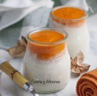 Yogur de bacalao con culis de pimientos, receta absolutamente deliciosa.