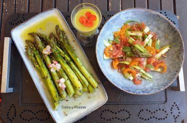 Espárragos verdes cocinados a baja temperatura, en crema y en ensalada, tres recetas deliciosas.