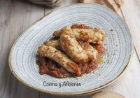 Solomillo o contramuslos de pollo con salsa Antibes, receta rica, rica