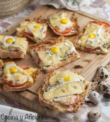 Pan de cristal a los cuatro quesos, receta estupenda.