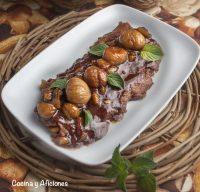 Tortilla fea con castañas caramelizadas, receta rica.