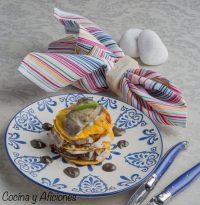 Lasaña de bacalao, calabaza y mahonesa de ajo negro