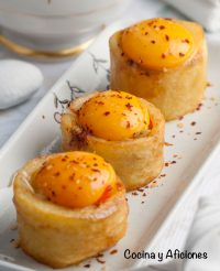 Mini tortilla de patata deconstruida a mi estilo, fácil y sencillo.