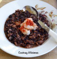 Arroz venere (negro) mar y montaña, receta oriental.