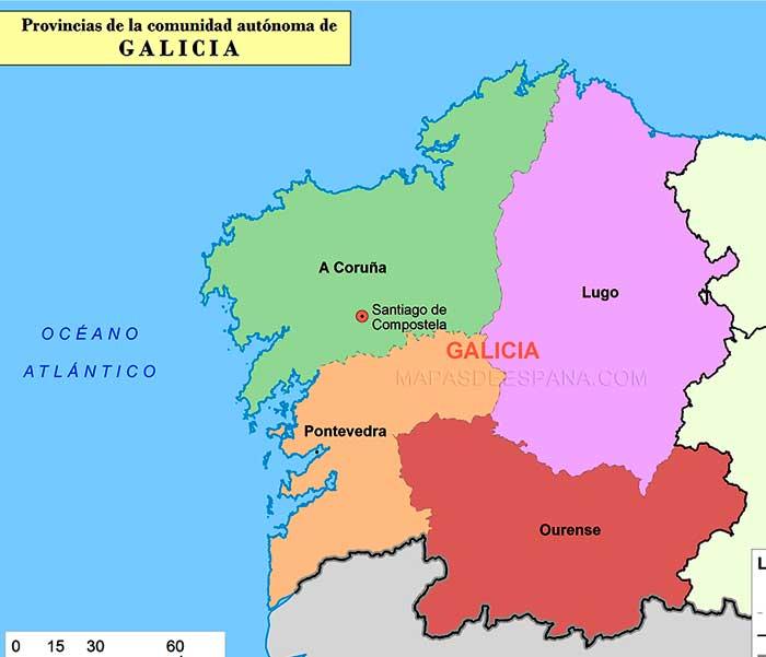 Mapa Provincias Comunidad Galicia Cocina Y Aficiones
