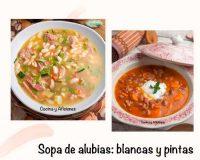 Sopa de alubias, dos recetas: unas blancas con lacón y otras pintas con vegetales.