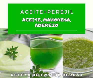Aceite, mahonesa y aderezo de perejil, más fácil y verde imposible.
