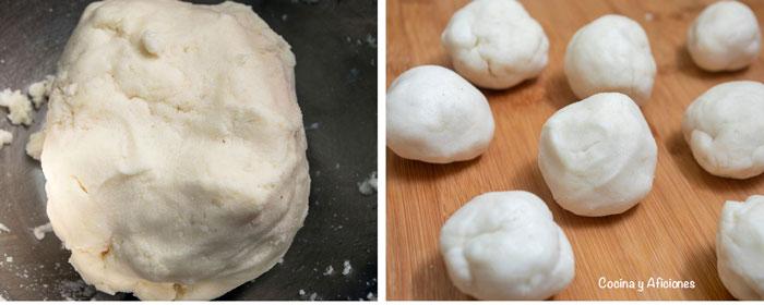 elaboracion de la arepa de carne mechada formamos bolas con la masas