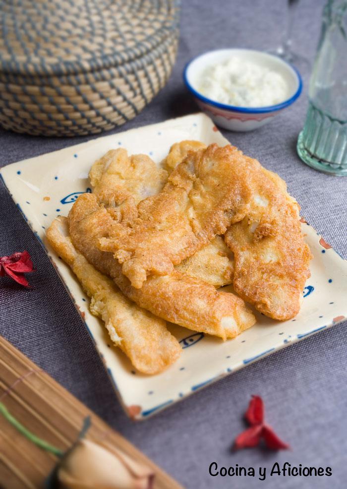 Filetes de gallo rebozados con masa por Orly tecnica de cocina