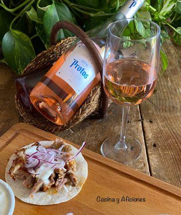 Tacos de costillas de cerdo al estilo de Dabiz Muñozcon Aire de Bodegas Protos.