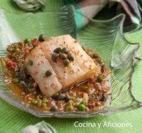 Bacalao sobre salsa de soja y jengibre