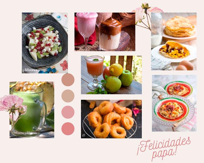 colalge artistico de todos los ingredientes del desayuno perfecto del dia del padre
