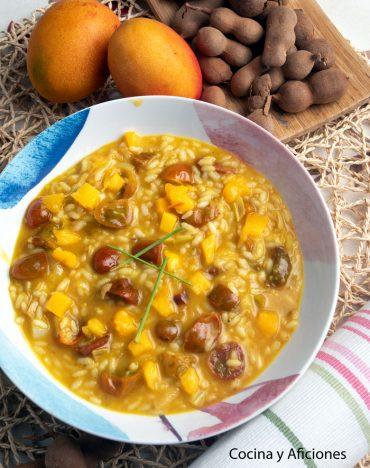 Arroz con mango,  diferente y delicioso con toques exóticos.