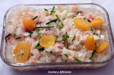 """Aperitivo de """"cangrejo real"""" con caviar citrico y kumquat, receta"""