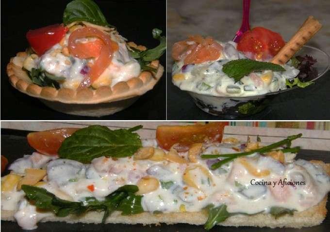 Aperitivo  de ensaladilla con salmon, presentaciones ok